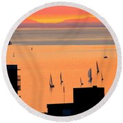 Window On Vancouver Round Beach Towel