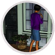 Window Shopper Round Beach Towel