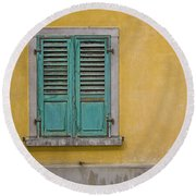 Window Shutter Round Beach Towel