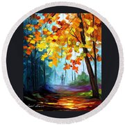 Window To The Fall - Palette Knife Oil Painting On Canvas By Leonid Afremov Round Beach Towel