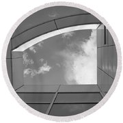 Window To The Sun - 4 - Bw Round Beach Towel