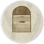Window View Of Desert Island Puerto Rico Prints Vintage Round Beach Towel by Shawn O'Brien
