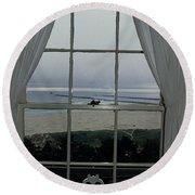 Window View Round Beach Towel