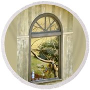 Window With A View Round Beach Towel