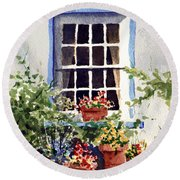 Window With Blue Trim Round Beach Towel