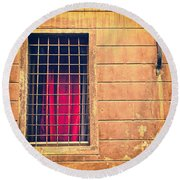 Window With Grate And Red Curtain Round Beach Towel by Silvia Ganora
