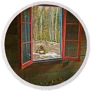 Window With View Abandoned Elkmont Log Cabin Autumn Round Beach Towel
