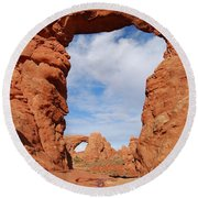 Windows And Turret Arches Round Beach Towel