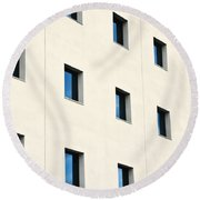 Windows In An Office Building Round Beach Towel
