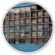 Windows In Blue Building 3 Round Beach Towel
