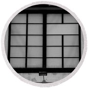 Windows Of Brooklyn In Black And White Round Beach Towel