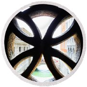 Windows Of Venice View From Palazzo Ducale Round Beach Towel