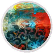 Winds Of Change - Abstract Art Round Beach Towel