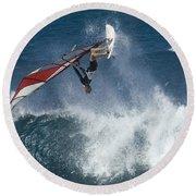 Windsurfer Hanging In Round Beach Towel