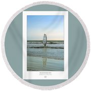 Windsurfing Art Poster - California Collection Round Beach Towel