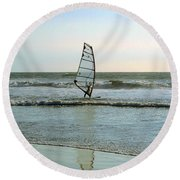 Windsurfing Round Beach Towel by Ben and Raisa Gertsberg