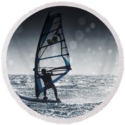 Windsurfing With Water Drops On Camera Round Beach Towel