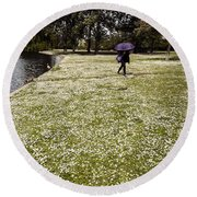 Windy And Cloudy Round Beach Towel