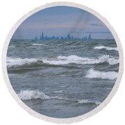 Windy City Skyline Round Beach Towel