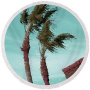 Windy Day By The Ocean  Round Beach Towel by Ben and Raisa Gertsberg