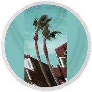 Windy Day By The Ocean  Round Beach Towel