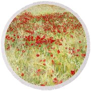 Windy Poppies At The Fields Round Beach Towel