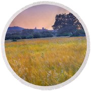 Windy Sunset At The Medieval Castle Round Beach Towel