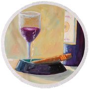 Wine And Cigar Round Beach Towel by Todd Bandy