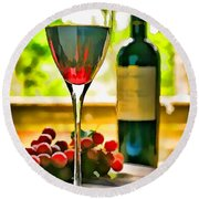 Wine And Grapes In The Window Round Beach Towel