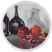 Wine And Pomegranates Round Beach Towel