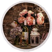 Wine And Roses Round Beach Towel
