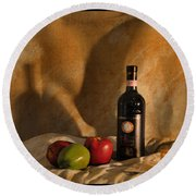 Wine Apples And Cheese Round Beach Towel