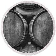 Wine Barrels Monochrome Round Beach Towel