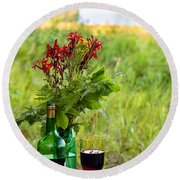 Wine Bottle And Two Glasses Round Beach Towel