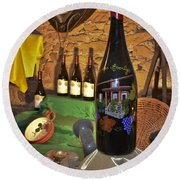 Wine Bottle On Display Round Beach Towel