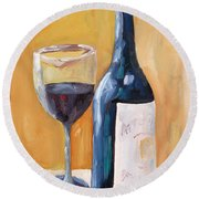 Wine Bottle Still Life Round Beach Towel by Todd Bandy