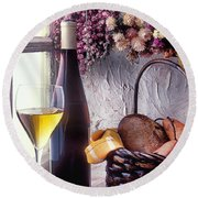 Wine Bottle With Glass In Window Round Beach Towel