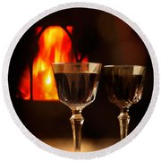 Wine By The Fire Round Beach Towel