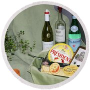 Wine Cheese And Crackers Round Beach Towel