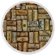 Wine Corks After The Wine Tasting Round Beach Towel