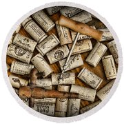 Wine Corks On A Wooden Barrel Round Beach Towel