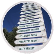 Wine Country Signs Round Beach Towel