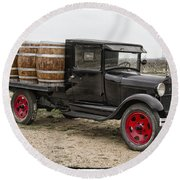 Wine Delivery Truck Round Beach Towel