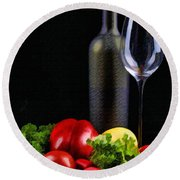 Wine For A Salad Round Beach Towel by Elaine Plesser