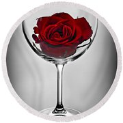 Wine Glass With Rose Round Beach Towel