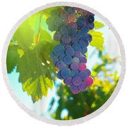 Wine Grapes  Round Beach Towel