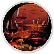 Wine Still Life Round Beach Towel