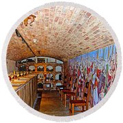 Wine Tasting Room In Castello Di Amorosa In Napa Valley-ca Round Beach Towel
