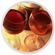 Wine Toast In Watercolor Round Beach Towel by Elaine Plesser