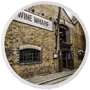 Wine Wharf Round Beach Towel by Heather Applegate